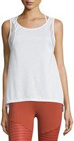 Alo Yoga Sunshade Mesh-Panel Sport Tank, White
