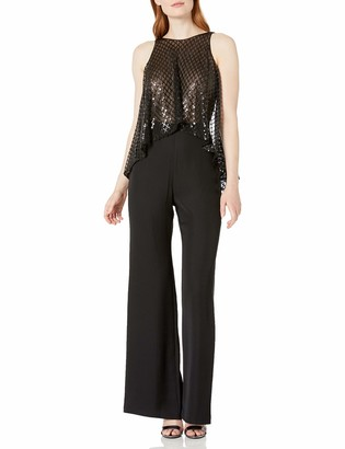 SHO Women's SLVLESS Jumpsuit with Sequin TOP and Open Back