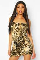 boohoo Satin Leopard Print Slip Dress