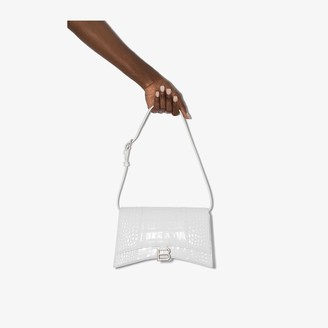 Balenciaga white Hourglass mock croc sling shoulder bag