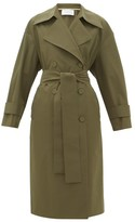 Harris Wharf London Double-breasted Technical-gabardine Trench Coat - Womens - Dark Green