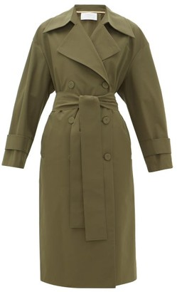 Harris Wharf London Double-breasted Technical-gabardine Trench Coat - Womens - Dark Green