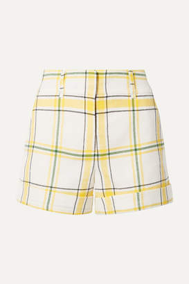 Veronica Beard Carito Checked Pique Shorts - Yellow