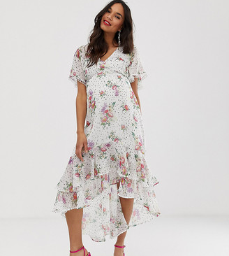 Asos DESIGN Maternity midi dress in spot and floral with lace and hem detail