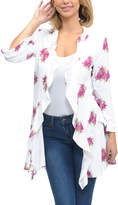 Magic Fit White & Pink Floral Frill Open Cardigan