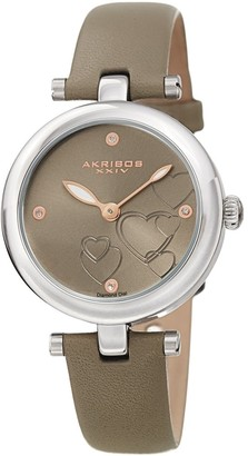 Akribos XXIV Ladies Diamond Heart Barbell Lugs Grey Leather Strap Watch