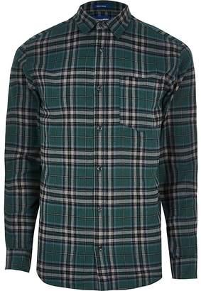 Jack and Jones dark green check shirt