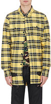 Off-White Men's Plaid Cotton Spray-Painted Shirt-YELLOW