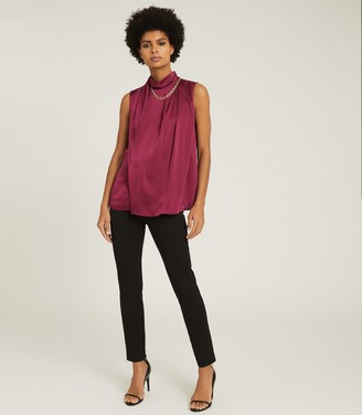 Reiss FREYA CHAIN DETAIL SLEEVELESS TOP Berry