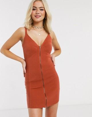 ASOS DESIGN corset detail zip through knitted mini dress