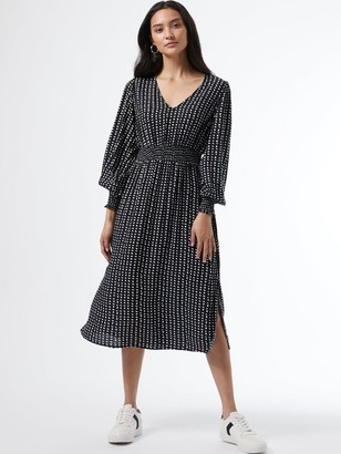 Dorothy Perkins PetiteMono Shirred Waist V Neck Midi Dress - Black