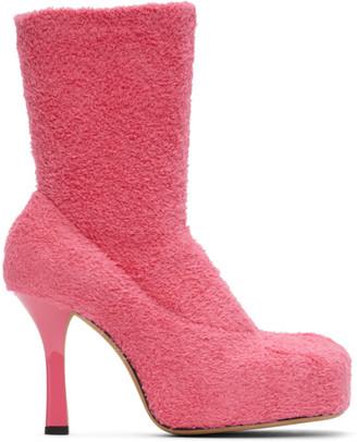 Bottega Veneta Pink Knit Bold Boots
