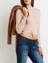 Charlotte Russe Ribbed Mock Neck Knotted Crop Top