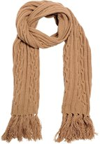 Lardini Camel Wool Cable-Knit Scarf