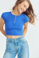 Silence & Noise Silence + Noise Marian Half-Zip Short Sleeve Cropped Top