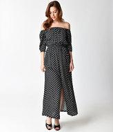 Unique Vintage 1970s Black & White Dot Off Shoulder Sleeved Midi Peasant Dress