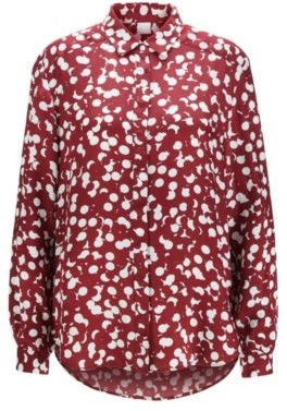 BOSS Dot-print blouse with concealed placket