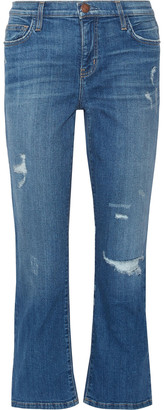 Current/Elliott The Kick Distressed Mid-rise Kick-flare Jeans