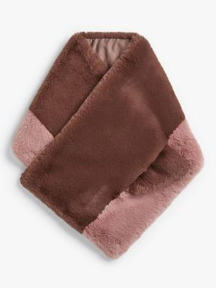 John Lewis & Partners Faux Fur Colour Block Wrap, Mink/Blush