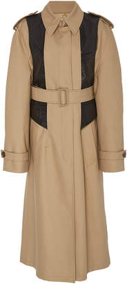 Alexander Wang Leather-Paneled Cotton-Blend Trench Coat