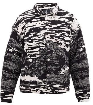 Marcelo Burlon County of Milan Intarsia-mountains Boxy Cotton-blend Jacket - Black White