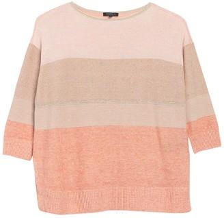 Lafayette 148 New York Colorblock Stripe Linen Blend Sweater