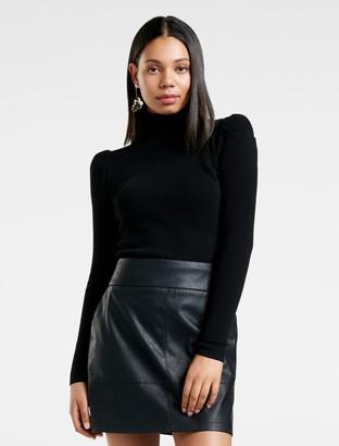 Forever New Maya Puff Sleeve Knit Jumper - Black - xxs