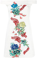 House of Holland off-the-shoulder embroidered dress - women - Cotton/Spandex/Elastane - 6