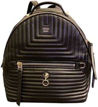 Fendi Black Leather Backpacks