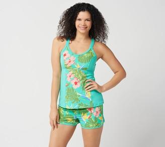 Denim & Co. Beach Crisscross Tankini with Shorts