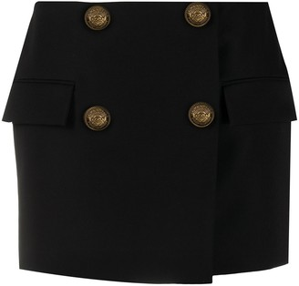 Balmain Button-Embellished Mini Skirt