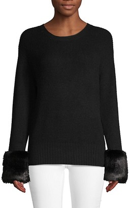 Stella + Lorenzo Textured Faux Fur-Trim Sweater