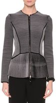 Giorgio Armani Zip-Front Jewel-Neck Fitted Jacket, Navy/Gray