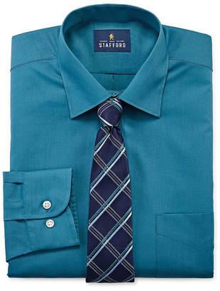 STAFFORD Stafford Men's Regular Fit Dress Shirt and Tie Set
