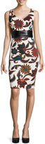 Bisou Bisou Sleeveless Faux-Leather Waistband Floral Dress