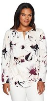 Calvin Klein Women's Plus Size 3/4 Sleeve Printed Wrap Top with Hardware