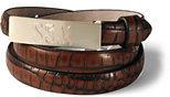 Lands' End Women's Leather Croc Belt-Cognac