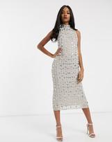 Asos Design DESIGN linear gem embellished midaxi dress
