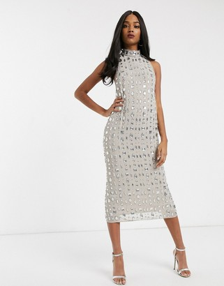Asos DESIGN linear gem embellished midaxi dress