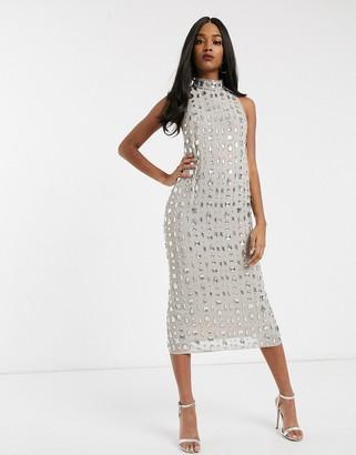 ASOS DESIGN linear gem embellished midaxi dress
