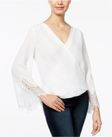 Amy Byer Juniors' High-Low Faux-Wrap Top