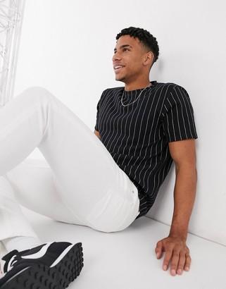 Topman stripe t-shirt in black matching set