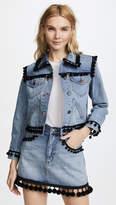Marc Jacobs Shrunken Jean Jacket with Pom Poms