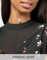 Asos Sterling Silver Locket Choker Necklace