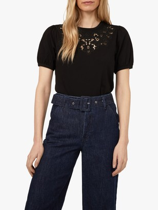 Warehouse Embroidered Neck Short Sleeve Top, Black