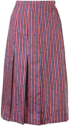 Hermes Bridle Print Pleated Skirt