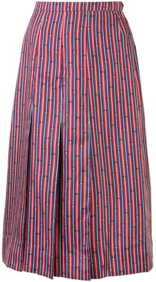 Hermes Pre-Owned Bridle Print Pleated Skirt