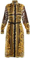 Versace Baroque and animal-print silk-twill shirtdress