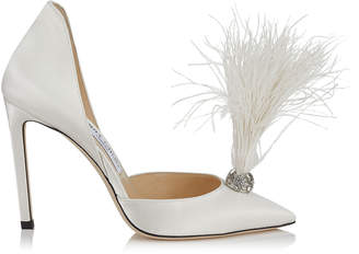 Jimmy Choo LIZ 100 Ivory Satin Pointy Toe Pumps with Crystals and Fascinator Feathers