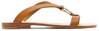 A.P.C. Norma Cross-over Leather Slides - Womens - Tan